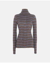 Stella McCartney - Blue Turtleneck Check Sweater - Lyst