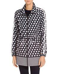 St. John - Blue Sale Dot Print Cotton Blend Outerwear Anorak - Lyst
