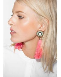 & Other Stories - Pink Tassel Earrings - Lyst