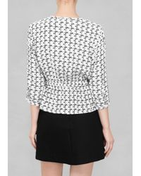 & Other Stories   White Polka Dot Check Blouse   Lyst