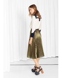 & Other Stories Green Metallic Pleated Skirt