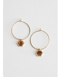 & Other Stories - Yellow Hexagon Charm Hoops - Lyst