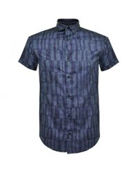 Armani Jeans | Satin Stretch Blue Cotton Shirt for Men | Lyst