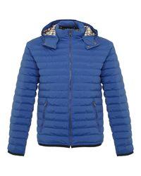 Aquascutum | Emmett Diamond Quilted Bright Blue Hooded Jacket for Men | Lyst
