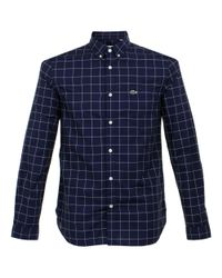 Lacoste | Blue Check Navy Ls Shirt Ch3946 00 for Men | Lyst
