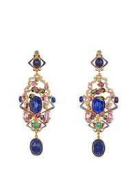 Percossi Papi - Blue Art Nouveau Goldplated Multistone Earrings - Lyst
