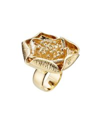 Aurelie Bidermann - Metallic 18kt Yellow Gold-plated Flower Ring - Lyst