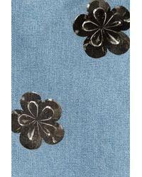 Victoria Beckham - Blue Floral Embellished Straight Leg Jeans - Lyst