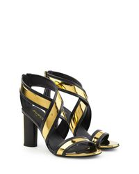 Balmain - Black Leather Sandal Heels - Lyst