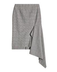 Balenciaga - Gray Virgin Wool Skirt With Ruffles - Lyst