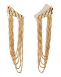Nikos Koulis   18kt Yellow Gold Star Earrings With White Diamonds   Lyst