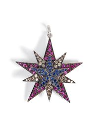 Ileana Makri | Metallic Silver/18k Gold Pendant With Rubies, Diamonds, Sapphires | Lyst