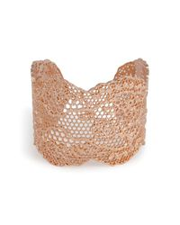 Aurelie Bidermann - Pink Rose Gold Lace Cuff - Lyst