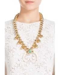 Aurelie Bidermann - Metallic 18kt Gold Plated Necklace With Turquoise And Horn - Lyst