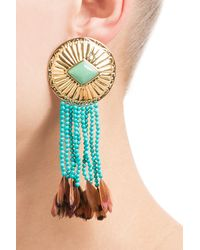 Aurelie Bidermann | Blue Earrings With Turquoise And Pheasant Feathers | Lyst