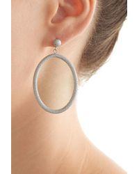 Carolina Bucci | Metallic 18k White Gold Gitane Sparkly Oval Earrings | Lyst