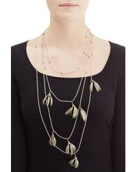 Valentino - Metallic Feather And Bead Embellished Necklace - Lyst