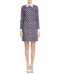 Carven | Blue Printed Cotton Dress | Lyst