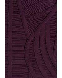 Hervé Léger - Purple V-neck Bandage Dress - Lyst