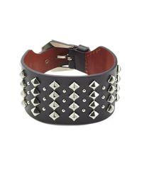 Alexander McQueen - Black Embellished Leather Cuff - Lyst