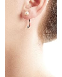 Delfina Delettrez   Metallic 18kt White Gold Sphere Earring With Diamond And Pearl   Lyst
