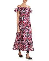 IRO | Red Printed Cotton Blend Dress | Lyst