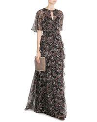 Valentino | Black Japanese Butterfly Silk Chiffon Maxi Dress | Lyst