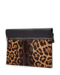 Victoria Beckham - Black Small Zip Leather Clutch With Printed Calf Hair - Lyst