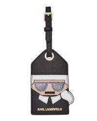 Karl Lagerfeld | Black Leather Luggage Tag | Lyst