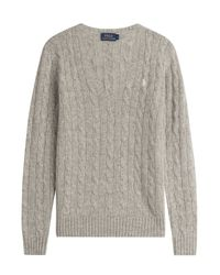 Polo Ralph Lauren - Gray Cable Knit Wool Pullover With Cashmere - Grey - Lyst