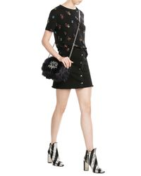 The Kooples | Black Embroidered T-shirt | Lyst