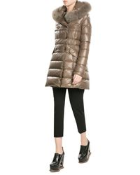 Duvetica | Multicolor Down Coat With Fox Fur-trimmed Hood | Lyst
