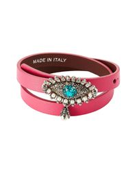 Alexander McQueen | Red Leather Wrap Around Bracelet With Embellishment | Lyst