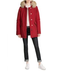 Woolrich | Red Arctic Down Parka With Fur-trimmed Hood | Lyst