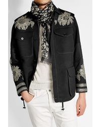 Alexander McQueen | Black Printed Scarf With Silk for Men | Lyst