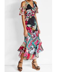Etro | Multicolor Printed Silk Dress With Cut-out Shoulders | Lyst