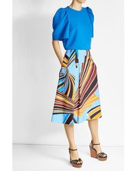 Emilio Pucci | Blue Printed Cotton Maxi Skirt | Lyst