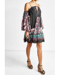 Roberto Cavalli | Multicolor Printed Silk Dress With Lace | Lyst
