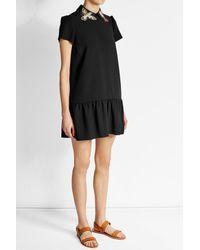 RED Valentino | Black Printed Crepe Mini Dress | Lyst
