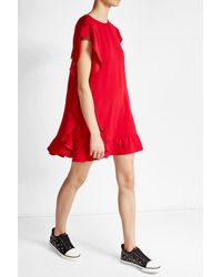 RED Valentino | Red Crepe Dress With Ruffles | Lyst