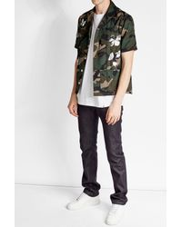 Valentino | Black Printed Cotton Camouflage Shirt for Men | Lyst