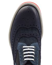 Dolce & Gabbana - Blue Leather And Denim Brogues for Men - Lyst