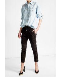 Balmain | Blue Quilted Denim Shirt | Lyst