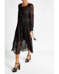 Zimmermann   Black Lace Silk Dress   Lyst
