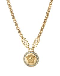 Versace - Metallic Embellished Medusa Necklace - Lyst