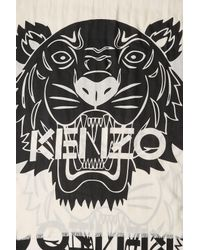 KENZO - Black Printed Scarf With Cotton And Silk - Lyst