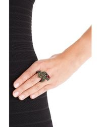Kenneth Jay Lane - Metallic Crystal Cocktail Ring - Lyst