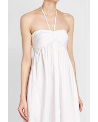 Jil Sander Navy - White Cotton Halter Dress - Lyst