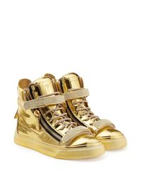 Giuseppe Zanotti - Metallic Devon Leather High-Top Sneakers - Lyst