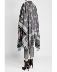 Alexander McQueen - Gray Printed Wool Cape - Lyst